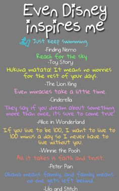 Disney Inspirational Quotes from Finding Nemo, Toy Story, The Lion King, Cinderella, Alice in Wonderland, Winnie the Pooh, Peter Pan, and Lilo and Stitch.