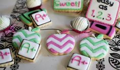 Chevron Apples, Crayon, and A+ Sugar Cookies with Cake Bites for Back to School Time by Snickety Snacks