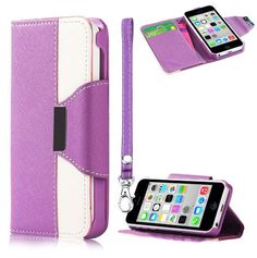 myLife Violet Purple + Bright White {Modern Design} Faux Leather (Card, Cash and ID Holder + Magnetic Closing + Hand Strap) Slim Wallet for ...