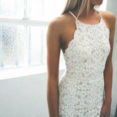 White lace/crochet scallop halter dress
