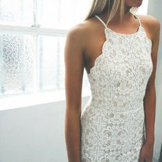 White lace/crochet scallop halter dress