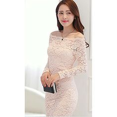 SNY Women's Elegant Off The Shoulder Lace Patterned Sheath Dress – USD $ 66.63