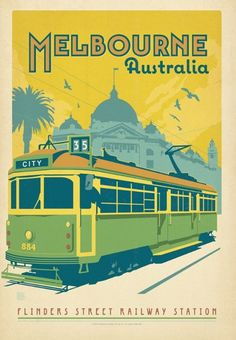 loving the 3 tones Vintage Poster - Melbourne Australia - Travel - Tram - Flinders Street Station - Transport