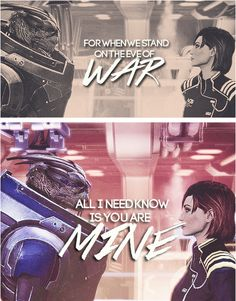 I love love love the combo of FemShep and Garrus! When I played the MA series, I always romanced Garrus because one; he's awesome, and two; Daniel hated Garrus because I thought he was so awesome and he was jealous.
