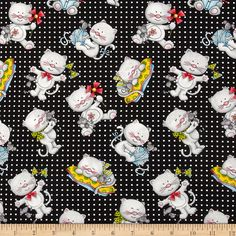 Miss Kitty's Colors Tossed Cats Black from @fabricdotcom  From Henry Glass, this cotton print fabric is perfect for quilts, home décor accents, craft projects and apparel. Colors include black, white, grey, blue, green and yellow.
