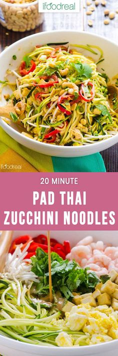 Pad Thai Zucchini Noodles Salad Recipe with zucchini pasta, healthy peanut sauce, shrimp or tofu and half amount of calories in under 20 minutes. #healthy #zucchini #lowcarb #whole30 #recipe #salad #dinner