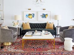Having a printed carpet lifts your living room and gives it character
