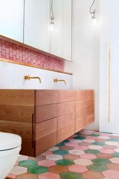 LOVE the style - do in a different color....Small bathroom decor ideas for saving space, organizing, and decorating your bathroom. Explore tips, inspiration, and photos to decorate your bathroom and transform your small space into a bathing oasis.