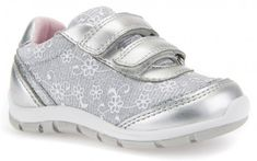 6a312d3d080 Geox Shaax Silver Flower Trainers - Geox Kids Shoes - Little Wanderers  Glitter Fabric, Silver