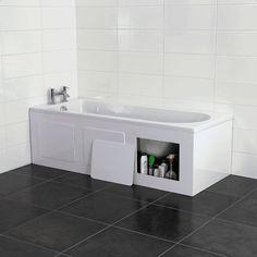 Croydex Gloss White Storage Front Bath Panel - Removable Panels for Items Bath Side Panel, Bath Panel, Bathroom Shop, Bathroom Ideas, Bathroom Trends, Bathroom Inspiration, Master Bathroom, Bathtub Storage, Wood Bath