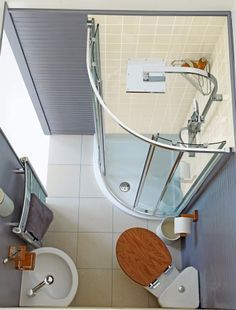 Good layout and wall hung sink/toilet. Nice colour on walls too. Perfect small bathroom!