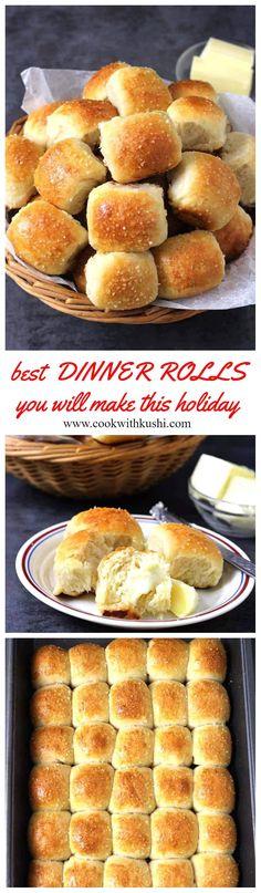 These dinner rolls are soft and light, fluffy and buttery, hard to resist. #dinnerrolls #yeastrolls #buns #pav #bread #burgerbun #sandwich #dinnersides #mealplanning #mealprep #holidaybaking #thanksgivingdinner #christmasdinner #holidaybread #breakfastideas #vegetarianfood #christmasbreakfast #pav #misalpav #indianfoodrecipes #homemadebread #easyrecipes #honeybutterrolls #easyrolls #homemaderolls #sweetbread #breadrecipes #lunchideas #Potluck #partyideas #newyearfood #fingerfood… Baking Recipes, Dessert Recipes, Dinner Recipes, Bread Recipes, Desserts, Thanksgiving Recipes, Holiday Recipes, Good Food, Yummy Food