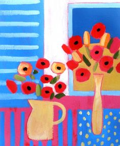 Two Vases of Poppies by Jan Rippingham #floral #art #still life