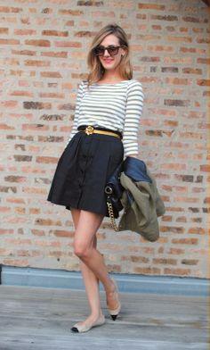 Striped boatneck and full skirt