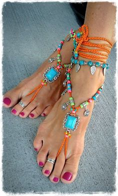 Turquoise Boho DESCALZO Sandals Charm of the sun FESTIVAL Sandal Orange Native Cowgirl Statement footwear Lucky Clover crochet foot jewelry GPyoga , Ankle Jewelry, Ankle Bracelets, Boho Jewelry, Feet Jewelry, Beach Jewelry, Jewellery, Beautiful Toes, Pretty Toes, Mode Hippie