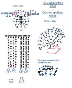 Schaf Applikation Häkelschrift - Sheep applique crochet chart