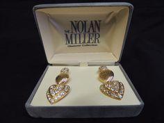 Vintage Goldtone Nolan Miller 3 of Hearts Hanging Pierced Rhinestone Earrings  #NolanMiller