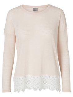 LACE LONG SLEEVED TOP, Pearl