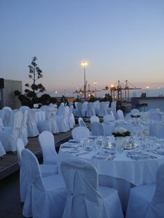 Dusk at Roof Garden 'Summer Times'. Preparing for another wonderful reception @ Porto Palace Hotel Thessaloniki.