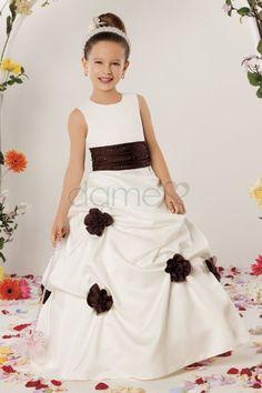 Perlen Pick-Ups Satin Karree Ballkleid volle länge ärmelloses Blumenmädchenkleid