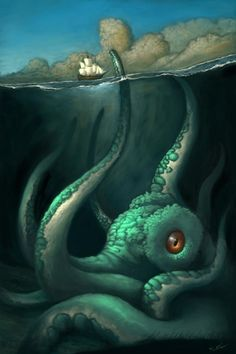 He wanted an epic painting of The Kraken, so I gave it to him. About hours in Photoshop CS Un-happy Day Le Kraken, Kraken Art, Fantasy Creatures, Mythical Creatures, Sea Creatures, Monster Art, Cthulhu, Octopus Art, Sea Monsters