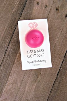 Kiss the Miss Goodbye- Bridal Shower, Engagement Party or Bachelorette Party Favor Tags- Lip Balm Tags, EOS Lip Balm Tags