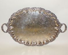 Vintage Silver Plate EPNS Grapes Pierce (Arrow) English Handles Footed Tray  #Unknown