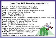 Humorous Over The Hill Birthday Survival Kit In A Can Novelty Fun Gift