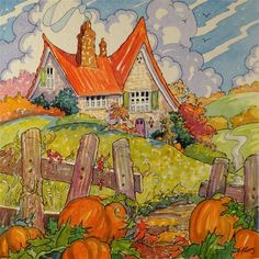 "Daily Paintworks - ""The Autumn Cottage Storybook Cottage Series"" - Original Fine Art for Sale - © Alida Akers"
