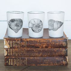 Sag Harbor Stamped Glass Tealight Cups - Set of 3