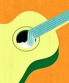 Joey Guidone - Pamplin Grove 2016 Poster. Editorial, Surrealism, Pop Surrealism, Conceptual, Design, Poster, Advertising, Guitar, River, Waterfall, Folk music, Summer