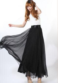 Black Plain Draped Wavy Edge Bohemian Chiffon Skirt