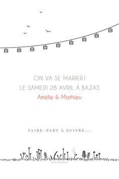 Save the Date Promesse champêtre blanc