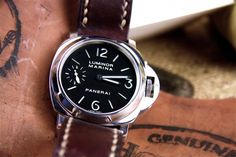 Horween Shell cordovan, color david lane design, watch strap on Panerai 111 Panerai 111, Limited Edition Watches, Shell, David, Leather, Accessories, Color, Design, Colour