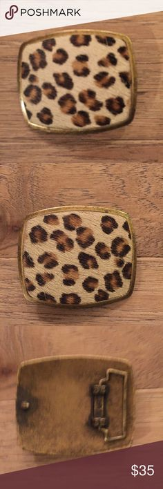 """Vintage leopard fur belt buckle pin up rockabilly Vintage brass belt buckle with fur. A little over 3"""" wide and 2.5"""" tall. Would look great with a dark red leather belt or distressed belt cigarette pants and kitten heels. vintage Accessories Belts"""