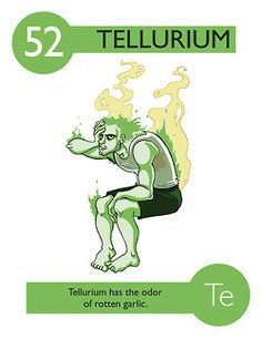 112 Cartoon Elements Make Learning The Periodic Table Fun - Tellurium. Teaching Chemistry, Science Chemistry, Physical Science, Science Art, Science Education, Science And Nature, Chemistry Posters, Element Chemistry, Chemistry Periodic Table