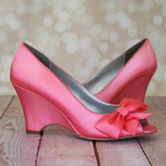 5808ad9ece74 Wedding Shoes -- Pink Coral Peep Toe Wedge Wedding Shoes with Off Center  Matching Bow on the Toe