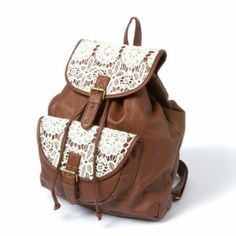 Mesa Faux Leather and Crochet Backpack...i would want it in mint or a coral or an orange-y color