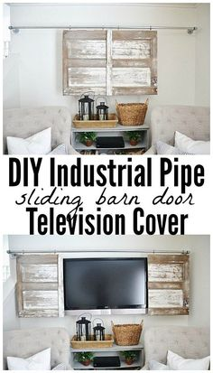 Industrial Pipe Sliding Barn Door TV Cover -