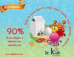 90% de las alergias a alimentos son causadas por: leche de vaca, huevos, soya, maní, nueces, trigo, pescado, mariscos.