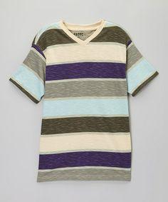 Look at this #zulilyfind! Nickel & Purple Stripe V-Neck Tee - Toddler & Boys #zulilyfinds