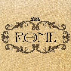 Rome italy europe romantic label tag word rose print on iron transfer fabric gift burlap label napkins pillow Sheet n.248