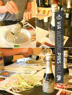 Cool - Okay this might be dumb... but what if we all saved our wine bottles starting now, removed the labels, and put glitter on the bottom? There could be like three per table as a centerpiece as vases, perhaps with silver spray painted branches in them...?   CHECK OUT MORE GREAT BACHELORETTE PICS AND IDEAS AT WEDDINGPINS.NET   #weddings #wedding #bachelorette #bachelorparty #events #forweddings #hot #love #romance #honeymoon
