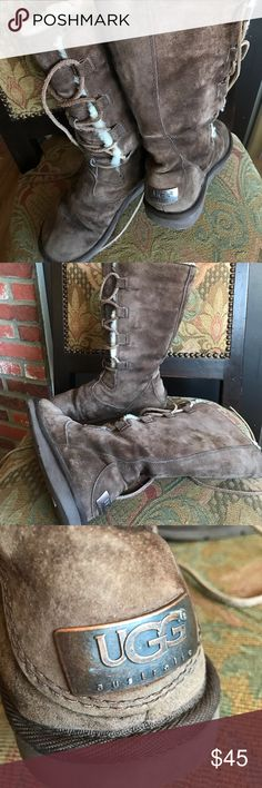 Ugg Brown tall lace up boots size 6 Ugg boots in preowned condition size 6 UGG Shoes Winter & Rain Boots