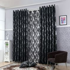 LOZUJOJU Geometry curtains for living room curtain fabrics window curtain panel semi-blackout bedroom curtains black thick tulle. Category: Home & Garden. Subcategory: Home Textile. Lounge Curtains, Bedroom Drapes, Luxury Curtains, Tulle Curtains, Black Curtains, Window Curtains, Curtains Living, Curtain Material, Curtain Fabric