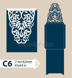 Descargar - Envolvente de felicitación de plantilla con el patrón calado tallado — Ilustración de stock #109251654