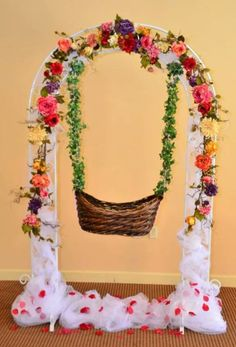 Struggling for ideas for the baby naming ceremony decoration? Remarkable cradle ceremony decoration & themes to make your little one's day memorable. Stage Decorations, Birthday Decorations, Baby Shower Decorations, Flower Decorations, Housewarming Decorations, Birthday Ideas, Cradle Decoration, Basket Decoration, Naming Ceremony Decoration