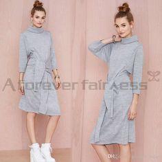 Gray Street Style Larga Floja De Las Señoras Del Otoño De Algodón Varios Vestidos Para Las Mujeres Más Tamaño Ropa
