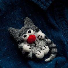 Grey tabby cat brooch pin Needle felted animal jewelry Natural fiber kitten  #Handmade
