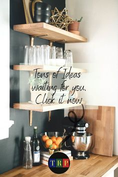 If you are looking for saving storage for your small kitchen that consumes only a little space, floating kitchen shelves will suit your needs. kitchen floating shelves | kitchen floating shelves decor | kitchen floating shelves wood | kitchen floating shelves diy | kitchen floating shelves and cabinets | kitchen floating shelves decor ideas | kitchen floating shelves modern | kitchen floating shelves white | #decor #wood #farmhouse #white #small Industrial Floating Shelves, Floating Shelf Decor, Floating Shelves Kitchen, Rustic Floating Shelves, Stainless Steel Kitchen Shelves, Kitchen Cabinetry, Cabinets, Rustic Kitchen, Diy Kitchen